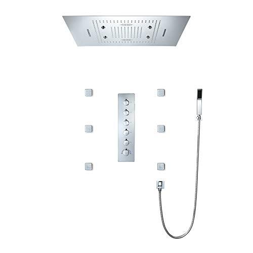BILLY'S HOME Sistema de Ducha del LED, LED de Ducha termostática con la Cabeza del Cuerpo Sprays Inteligente Música Bluetooth Control de Lluvia Conjunto de Ducha con Ducha de Mano 800 × 600MM,B