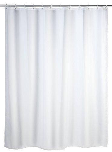 WENKO Anti-Schimmel Duschvorhang Uni White - Anti-Bakteriell, Textil, waschbar, wasserabweisend, schimmelresistent, mit 12 Duschvorhangringen, Polyester, 180 x 200 cm, Weiß