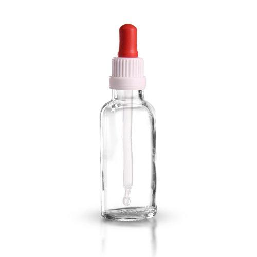 10 x Pipettenflaschen (Klarglas) 30 ml inkl. Pipetten mit Originalitäts-Verschluss OV DIN 18 (weiss-rot) / Pipettenflasche / Klarglasflasche mit Pipette / Glaspipette / Glaspipetten / Tropfpipette / Tropfpipetten ***Apothekenqualität, gefertigt nach