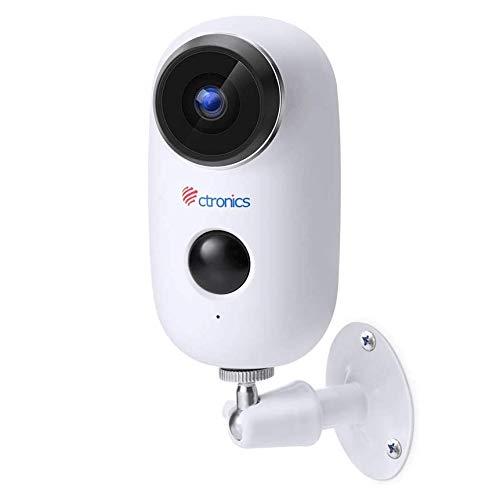 1080P Caméra de Surveillance sur Batteries Rechargeable WiFi Ctronics Caméra IP Solaire Extérieure sans Fil Détecteur de Mouvement PIR Audio Bidirectionnel Vision Nocturne IP65 Imperméable Fente SD