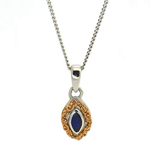 Clogau Womens Blue Sapphire 9ct White Rose and Welsh Gold Lilibet Pendant