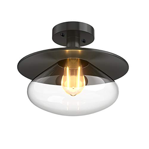 COSTWAY Deckenleuchte Glas, Deckenlampe modern, Lampe Vintage Industrie Design mit Glasschirmen, E27 Sockel/LED Perfekt für Wohnzimmer, Schlafzimmer, Küche, Esszimmer