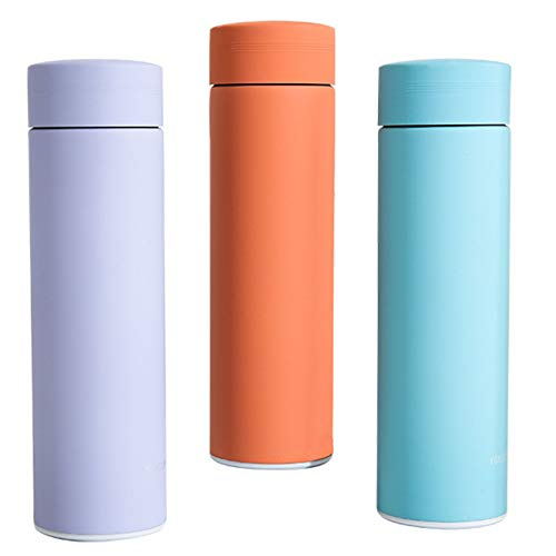 Water Bottle 3-Piece Set Insulated Stainless Steel Reusable Cute Thermos Water Bottle 500Ml/17Oz Sports Keeps Hot and Cold Leakproof Lids Orange Purple Blue