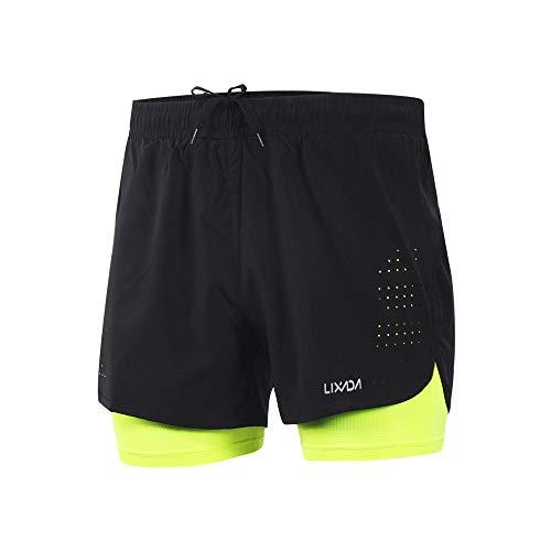 Lixada Hombres Pantalónes Cortos de Running 2-en-1, Pantalones Cortos de Atletismo, Pantalones Cortos de Fitness Maratón, Transpirable Pantalones+Secado Rápido (Verde, XL)