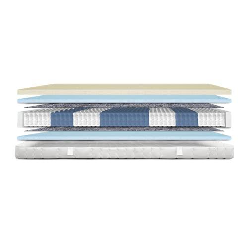 AM Qualitätsmatratzen - Premium Visco-Matratze 90x200cm H3-1000 Federn - Taschenfederkernmatratze - Matratze mit integrierter 6cm Visco-Auflage - 24cm Höhe - Made in Germany