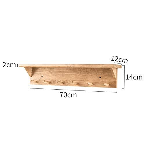 WAJI Wandmontage kapstok grote massief eiken kapstok rek, ingang, badkamer kast met 6 houten haken