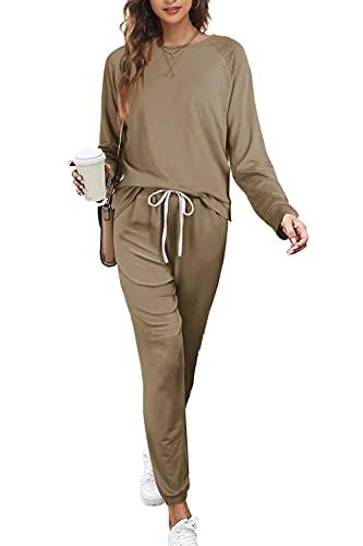 2 Piece Sweatsuits for Women with Pockets Jogging Suits Sets Autum Khaki L