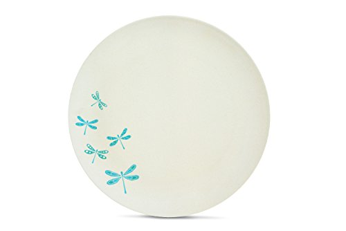 Aquaterra Living Ecofriendly Dinner Plate Set with Dragonfly Designs- Set of 6, 10' indoor or outdoor plates