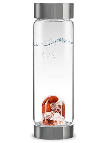 VitaJuwel ViA FITNESS - Wasserflasche mit Roter Jaspis, Magnesit & Bergkristall für Willenskraft und Stärke