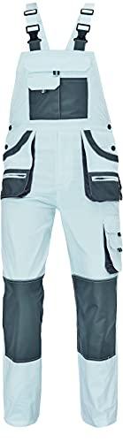 Hans - Herren Baumwolle Slim Fit Arbeits-Latzhose - Weiß EU50