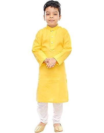 Age 4 To 5 Size Boys Kurtha Indian Sherwani Kurta Dhotti Mustard Cream White
