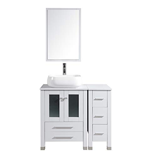 """TONYRENA Modern 36"""" Bathroom Vanity Set - Cabinet with Ceramic Sink(17.7"""" Lx15.7 Wx5.7 D) Top, Chrome Finished Faucet, Flexible Drain & Mirrors, White"""