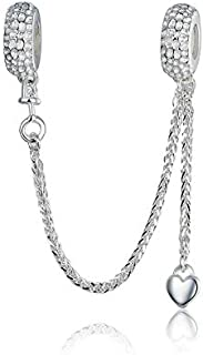 Heart Safety Chain Charm 925 Sterling Silver Beads fit Pandora Charms Bracelet & Necklace