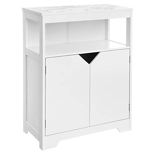 VASAGLE Bathroom Storage Cabinet, Floor Cabinet Cupboard, with Large Storage Capacity, Printed Marble-Like Pattern, Open Shelf, and Adjustable Closed Shelf, 23.6 x 11.8 x 31.5 Inches, White