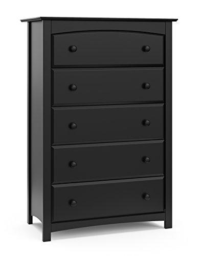 Storkcraft Kenton 5 Drawer Universal Dresser | Wood and Composite Construction, Ideal for Nursery, Toddlers or Kids Room | Black