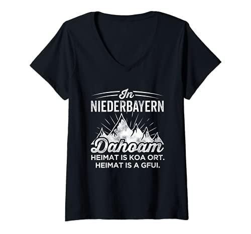 Damen Wandern In Niederbayern Dahoam Heimat Is Koa Ort Is A Gfui T-Shirt mit V-Ausschnitt