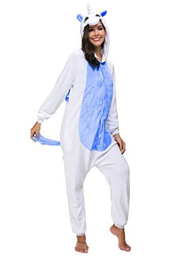 Mescara Pijama de cuerpo entero unisex para disfraz de animal, Halloween, carnaval, traje de fiesta para dormir azul oscuro XL