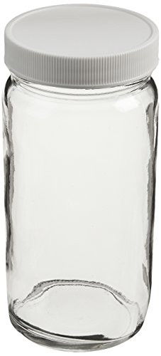 JG Finneran 9-191-2 Clear Borosilicate Glass Precleaned Tall Straight Sided Wide Mouth Jar with White Polypropylene Closure and 0.015