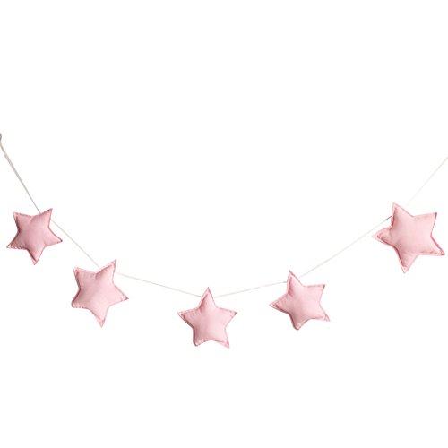 PERIWIN Hängedekoration, nordisches Design, 5 Stück, süße Sterne, zum Aufhängen, Banner, Party, Kinderbett-Dekoration, Grün + Weiß