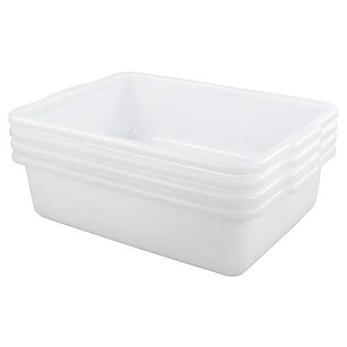 Yarebest 13 Liter Commercial Bus Tubs Dish Pan Basin 4-pack White