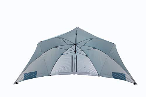 HOMECALL - Sombrilla refugio con ventana para protegerse del viento en la playa, poliéster resistente a los rayos UV, azul
