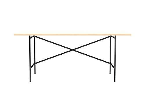Modulor Tisch E2 mit pulverbeschichtetem Tischgestell und seidenmatter Tischplatte (90 x 180 cm, schwarz und weiß)