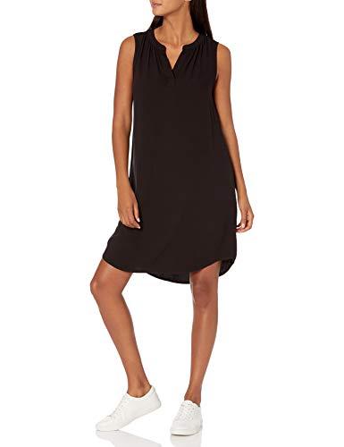 Amazon Essentials Women's Sleeveless Woven Shift Dress, Black, Small