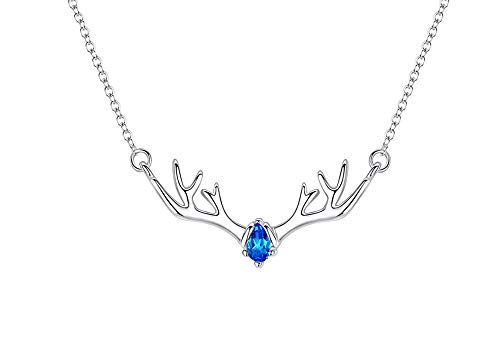 MiniJewelry - Collar de plata de ley con cuernos de ciervo, collar de plata de ley para mujeres y niñas