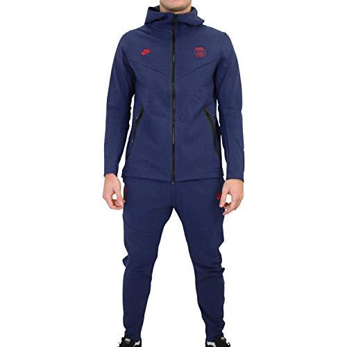 Nike Herren PSG M NSW TCH PCK Hoodie FZ CL Sweatshirt, Midnight Navy/University red, S
