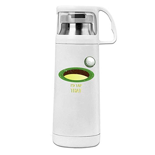 Bestqe Borraccia in Acciaio Inox,Termica Isolamento Fit I'd Tap That Golf Insulated Stainless Steel Thermos Cup Portable Water Bottle with Handle Vacuum Tea Cup Travel Mug
