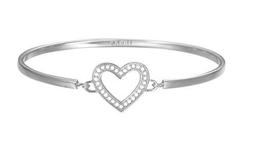 ESPRIT Damen-Armreif JW50225 rhodiniert Glas weiß 24 cm - ESBA01299A600