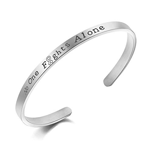 Awegift Motivational Jewelry No One Fights Alone Cancer Survior Inspirational Bracelet for Women