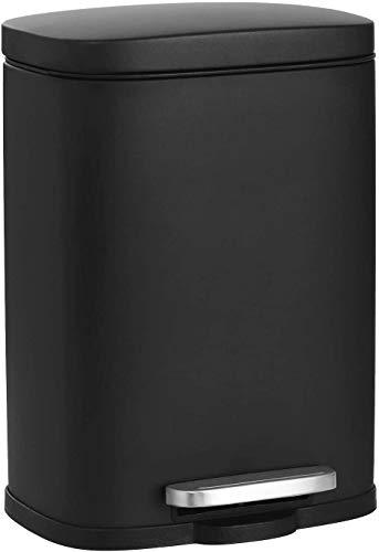 SONGMICS Pattumiera da 5 litri, con pedale, rettangolare, Softclose, contenitore esterno in acciaio, secchio interno in plastica, nero, 29 x 20,8 x 14,2 cm