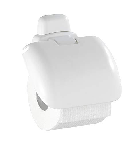 WENKO Toilettenpapierhalter Pure mit Deckel - Papierrollenhalter, Kunststoff (ABS), 16 x 5 x 16 cm, Weiß