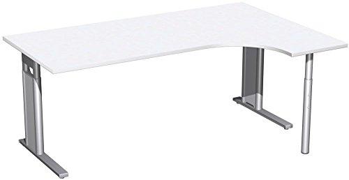 PC-Schreibtisch rechts höhenverstellbar, C Fuß Blende optional, 1800x1200x680-820, Weiß/Silber, Geramöbel