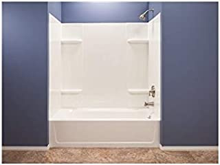 El Mustee 53WHT Durawall Thermoplastic Bathtub Wall Kit, 5 Pieces, 4 Shelves, White, 30 x 60