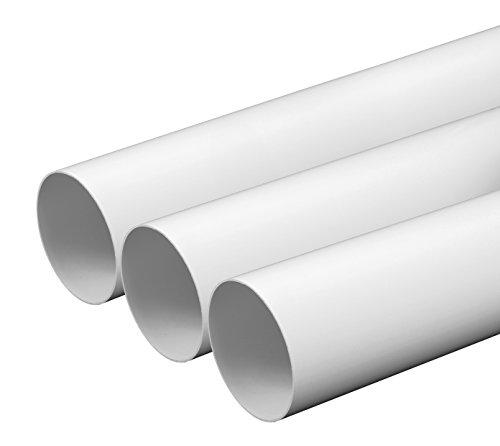 Lüftungsrohr Ø 125 mm Länge 0,5 m aus ABS-Kunststoff Rundrohr Rundkanal Abluft-Rohr Abluftkanal Dunstabzug Kanal Ø 12,5 cm und 50 cm lang Rundrohrsystem
