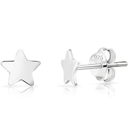 DTPSilver - 925 Sterling Silver Star Studs Earrings - Size: 6 mm