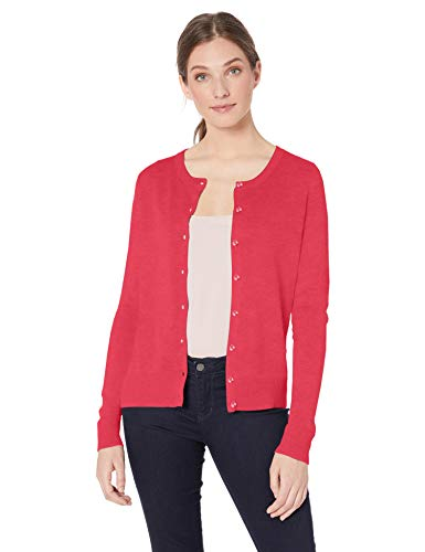 Amazon Essentials Women's Lightweight Crewneck Cardigan Sweater, Bright Pink, Large