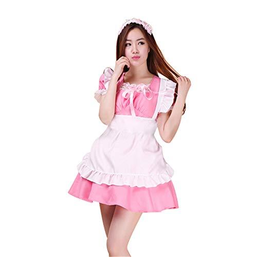 fagginakss Damen-Kostüm, französisches Dienstmädchen mit PVC-Mieder für Halloween Kollektion French Maid Kostüm mit Kleid Haarreifen
