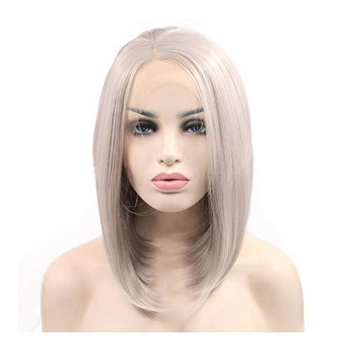 Xiang Ye La moitié température de Fil de Lin tissé à la Main Gris Perruque Cheveux Courts Droite (Color : Linen Grey)