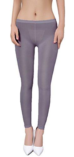 zukzi Womens Sexy Lingerie See Through Leggings Sheer Leggings Multi-Colors, Dark Grey, L/XL