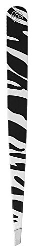 Pinça Étnica Zebra De Aço Inox Com Ponta Diagonal, Mundial S/A, Branco/ Preto