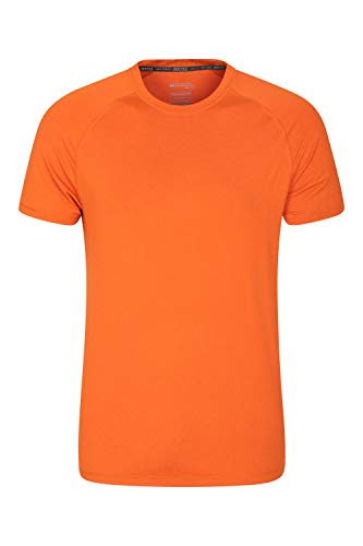 Mountain Warehouse Agra Camiseta mélange para Hombre - Ligera, cómoda, con Cuello Redondo, de Secado rápido y protección UV - para Viajar y Caminar Naranja Quemado S