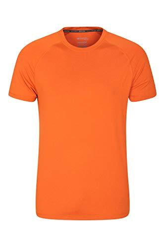 Mountain Warehouse Agra Melange-T-Shirt für Herren - leichtes Oberteil, bequem, Rundhals-T-Shirt, schnell trocknend mit UV-Schutz - für Reisen und zum Wandern, Frühling Gebranntes Orange Large