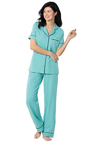 PajamaGram Womens Pajamas Cotton Jersey - Ladies Pajamas, Turquoise, X-Small 2-4
