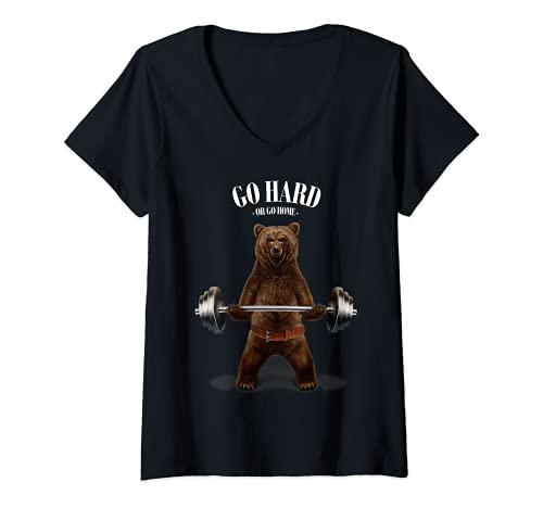Mujer Levantamiento de pesas de osos en el gimnasio Camiseta Cuello V