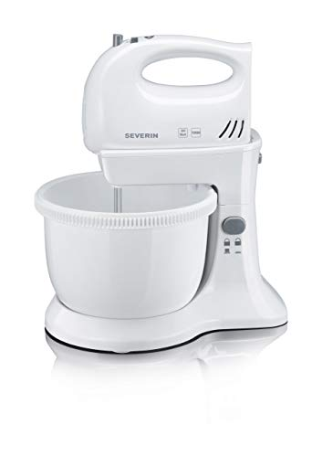 SEVERIN Set Batteur, env. 300 W, Inclus : Pied-Support et Bol Rotatif 3 L, HM 3810, Blanc/Gris