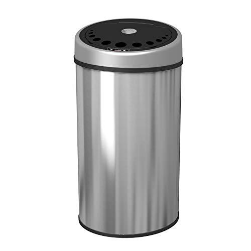 1home Mülleimer mit Sensor 50L Automatischer Abfalleimer INOX mit Infrarot Automatisch Kücheneimer Abfallbehälter Bewegungssensor Edelstahl Chrom Rund