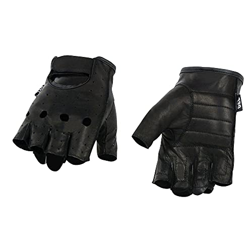 Milwaukee Leather SH195 Men's 'Open Knuckles' Black Leather Fingerless Gloves with Gel Palm - 3X-Large